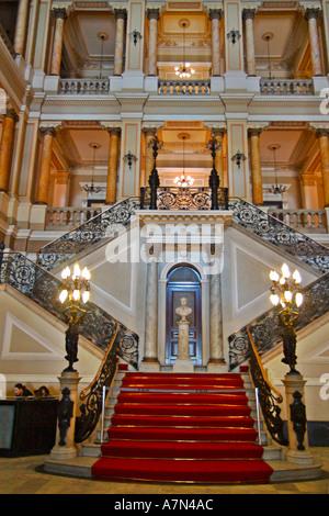Rio de Janeiro Biblioteca National national library biggest library of Latin America entrance lobby - Stock Image