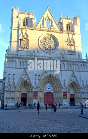 Saint-Jean cathedral façade in Lyon, France - Stock Image