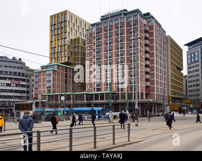 Clarion the Hub, recently upgraded hotline the centre of Oslo Norway with tram and metro stop in front - Stock Image