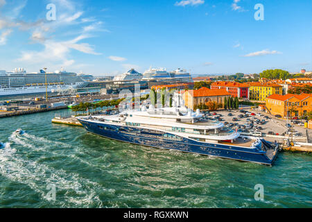 Venice, Italy - September 18 2018: Yachts, boats and cruise ships await passengers in the cruise port of Venice, Italy. - Stock Image