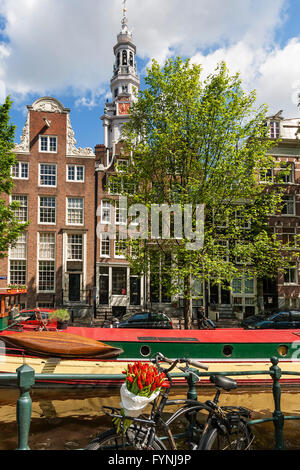 Bicylce with tulips, background Westerkerke Church,  Prinsengracht Canal, Amsterdam, Netherlands - Stock Image