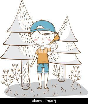Stylish boy blushing cartoon outfit shorts backwards cap  nature background vector illustration graphic design - Stock Image