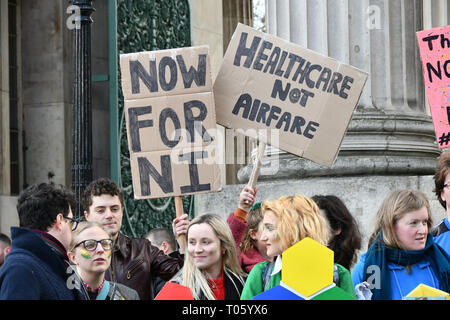London, UK . 17th Mar, 2019. London-Irish Abortion Rights Campaign join The colourful St Patrick Parade days 2017 was watched by thousands who line up the streets from Piccadilly to Trafalgar Square where speeches were made and a show with music and dane was given to the thousands who packed the square to celebrate St Patrick day 2019 on 17 March 2019, London, UK. Credit: Picture Capital/Alamy Live News - Stock Image