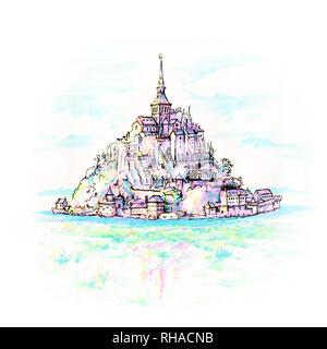 Mont Saint-Michel, Brittany, France - Stock Image