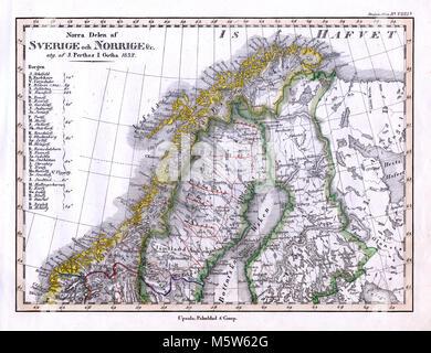 1844 Stieler Map - Northern Sweden Norway Finland Lapland - Scandinavia - Stock Image