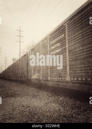 Train in motion. Black and white vintage - Stock Image