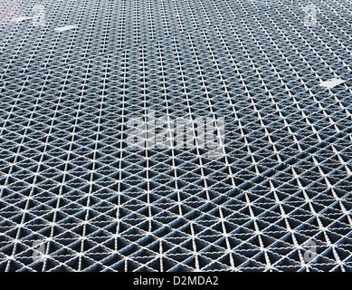 Metal grating on bridge - Stock Image