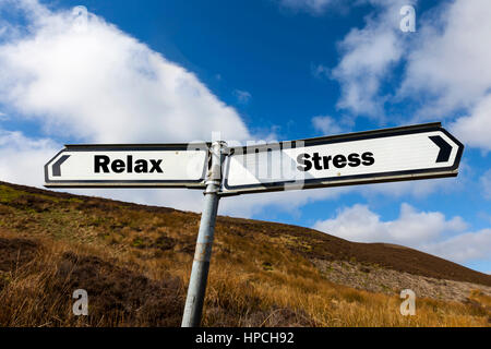 Relax stress sign concept rest recover from stress stresses of work everyday pressure pressures - Stock Image