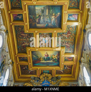 ROME , ITALY- OCTOBER 10, 2017: The Interior Ceiling of the Basilica of St Bartholomew on Tiber Island - Stock Image
