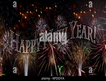 Fireworks 2018 New Years Eve concept transparent words spell out Happy New Year Also available with the year behind - Stock Image