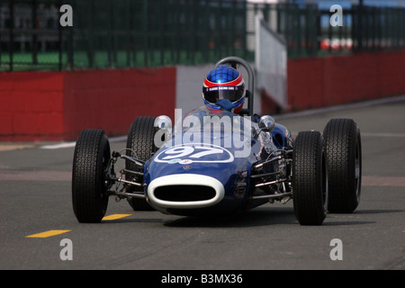 Blue classic racing car on the track - Stock Image