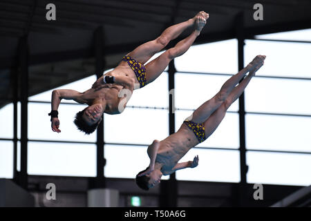 Tetsuki Takakuwa & Reo Sakata, APRIL 19, 2019 - Diving : Japan Indoor Diving Championship 2019 Men's Synchronised 3m Springboard Final at Tatsumi International Swimming Center, Tokyo, Japan. (Photo by MATSUO.K/AFLO SPORT) - Stock Image