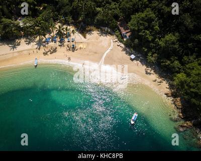 View from above at Majahuitas beach, Banderas Bay South of Puerto Vallarta, Jalisco, Mexico - Stock Image