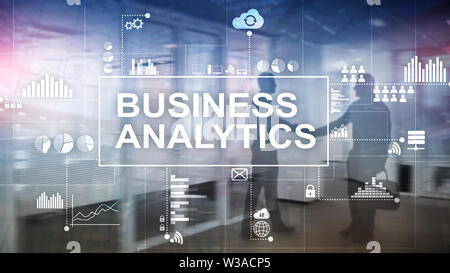 Business analytics concept on double exposure background. - Stock Image