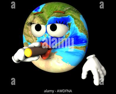 smoking earth - Stock Image