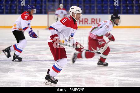 Sochi, Russia. 15th Feb, 2019. Russian President Vladimir Putin, #11, during a friendly ice hockey match with Belarus President Alexander Lukashenko at the Shaiba Arena February 15, 2019 in Sochi, Russia. Credit: Planetpix/Alamy Live News - Stock Image