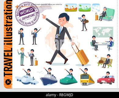 A set of businessman on travel.There are also vehicles such as boats and airplanes.It's vector art so it's easy to edit. - Stock Image