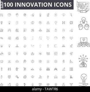 Innovation line icons, signs, vector set, outline illustration concept  - Stock Image