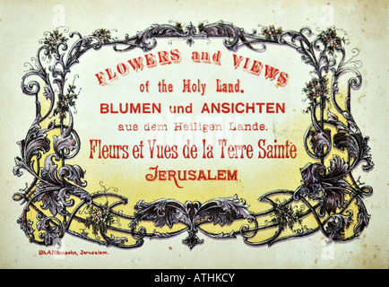 1900s Souvenir Olive wood album of Pressed Flowers from the Holy Land and Jerusalem - Stock Image
