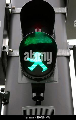 ampelman green man go traffic light berlin germany deutschland icon travel tourism - Stock Image