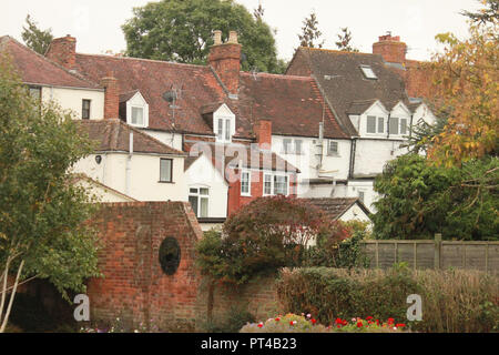 Back of old town houses in Tewkesbury - Stock Image