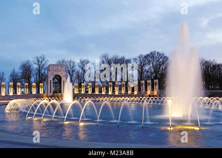 National World War II Memorial in Washington D.C. dedicated to Americans who served in the armed forces and as civilians - Stock Image