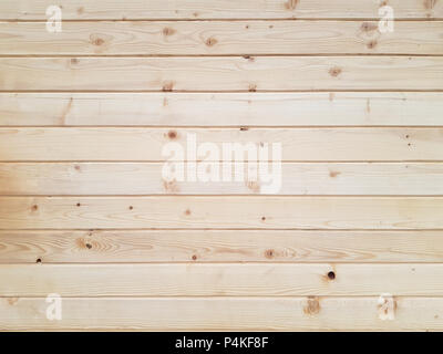 Treated natural wooden pine boards arranged horizontally side by side as texture background - Stock Image