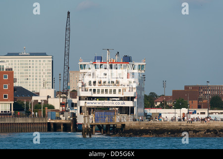 A Wightlink car and passenger ferry docked in Old Portsmouth near to Gunwharf Quays - Stock Image