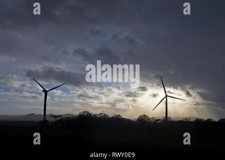 Stone Cross, UK. 7th Mar, 2019. UK weather. Wind turbines on a stormy afternoon today in Stone Cross overlooking the South Downs, East Sussex, UK Credit: Ed Brown/Alamy Live News - Stock Image