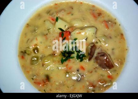 Smoked salmon chowder soup - Stock Image