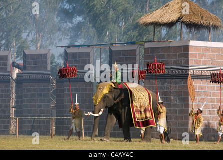 Thailand, Surin, Surin.  Ancient war re-enactment in Srinarong Stadium during the annual Surin Elephant Roundup - Stock Image