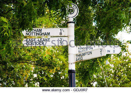 Stock photo of road distance signs that have Gotham, Thrumpton & other villages in Nottinghamshire including - Stock Image