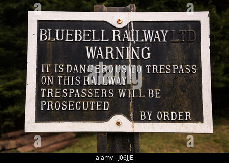 Bluebell Railway Warning sign - Stock Image