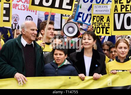 London, UK. 23rd March, 2019. Sir Vince Cable, Caroline Lucas, People's Vote March, Whitehall, London.UK Credit: michael melia/Alamy Live News - Stock Image