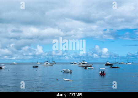 Boats in the Indian Ocean outside Mauritius - Stock Image