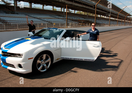 USA, Indiana, Indianapolis Motor Speedway, pace cars during off season scene of the annual Indy 500 car race. - Stock Image