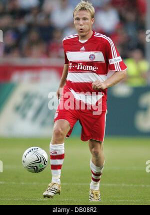 Christian Lell of Bayern Munich pictured during the test cap Borussia Moenchengladbach v FC Bayern Munich at the - Stock Image