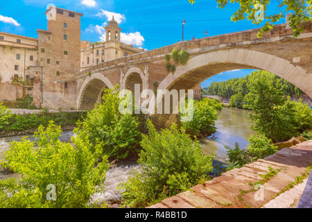 Tiber island in sunny day, Rome, Italy - Stock Image