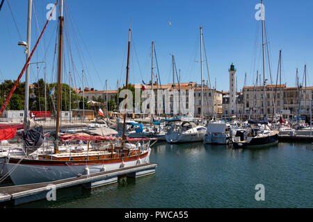 The Vieux Port and lighthouse in La Rochelle on the coast of the Poitou-Charentes region of France. - Stock Image