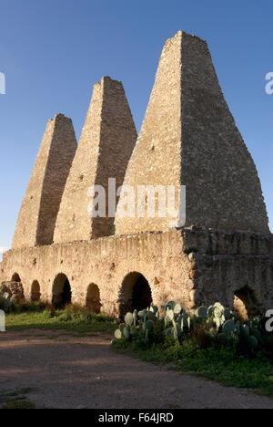 Sixteenth century smelters or hornos at the abandoned Mina Santa Brigida mine, Mineral de Pozos, Guanajuato state, - Stock Image