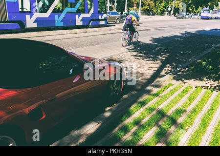 Street in the city of Riga in summer - Stock Image