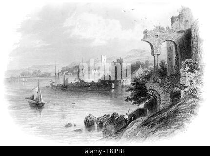 Carlingford County Louth  Newry River Republic Ireland circa 1840 - Stock Image