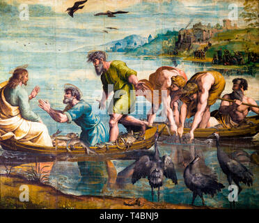Raphael, The Miraculous Draught of Fishes, painting, c. 1515 - Stock Image