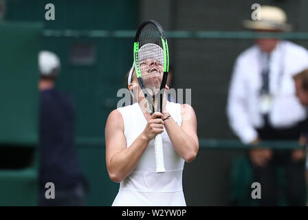 Wimbledon, UK. 11th July 2019, The All England Lawn Tennis and Croquet Club, Wimbledon, England, Wimbledon Tennis Tournament, Day 10; Simona Halep (rom) celebrates as she wins the match 2 sets to love against Elina Svitolina (ukr) during their ladies singles semi-final match Credit: Action Plus Sports Images/Alamy Live News - Stock Image