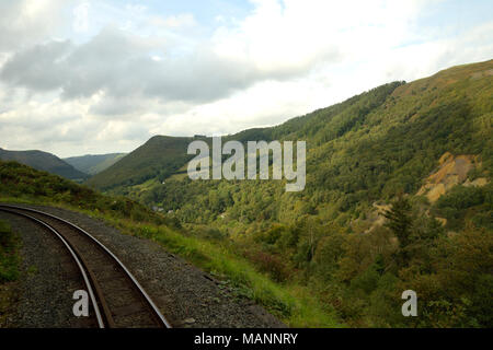 Rheidol Valley Railway, view from Curve near Rhiwfron - Stock Image