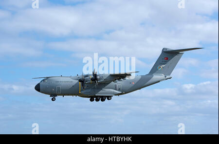 Turkish air Force Atlas A400M military troop carrier on a joint exercise in UK coming in to land at RAF Lossiemouth - Stock Image