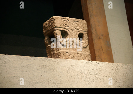 Square Cuauhxicalli, Pre-Hispanic Mayan Art, National Museum of Anthropology, Chapultepec Park, Mexico City, Mexico. - Stock Image