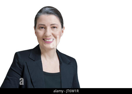 Friendly smiling middle aged woman in a black blazer isolated on white background, professor, teacher, translator, lawyer, attorney, accountant - Stock Image