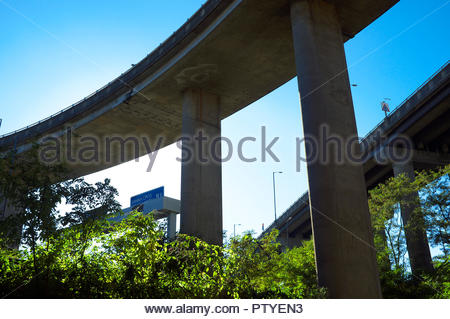 A view of a section of the underside of the Gravelly Hill Interchange (aka Spaghetti Junction), Birmingham, West Midlands, UK. - Stock Image