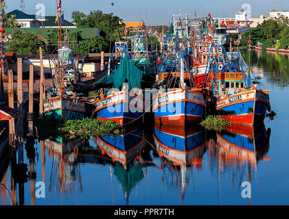 fishing boats in a harbor in Thailand - Stock Image